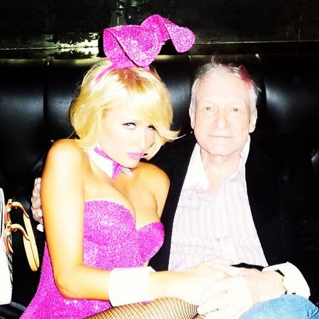 Paris Hilton spends Easter as a bunny rabbit with Playboy publisher Hugh Hefner