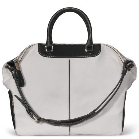 TODs miky bag in black leather and white pony skin effect