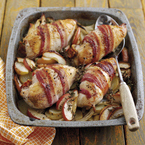 Cider-roasted chicken with bacon recipe