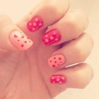 Kelly Brook's red and white polka dot nail art