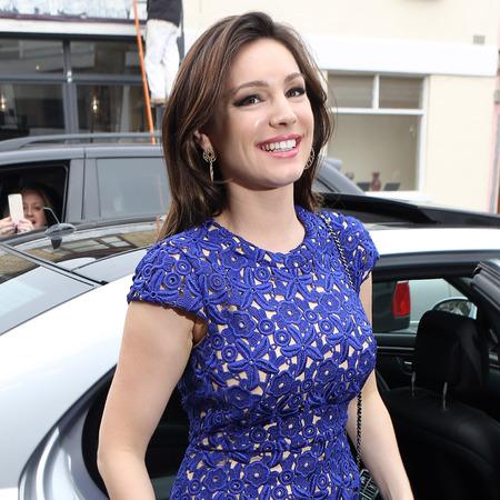 Kelly Brook wears blue lace dress to film Celebrity Juice