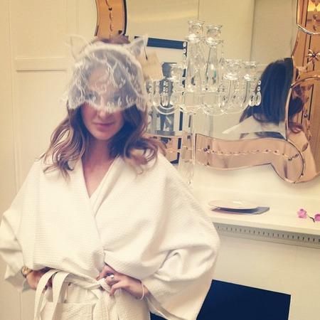 Millie Mackintosh tries on wedding veil with cat ear