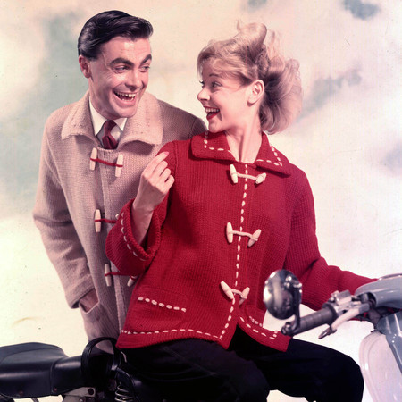 Happy vintage couple on a bike