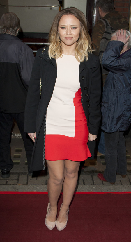 Kimberley Walsh wears Zara dress at the theatre
