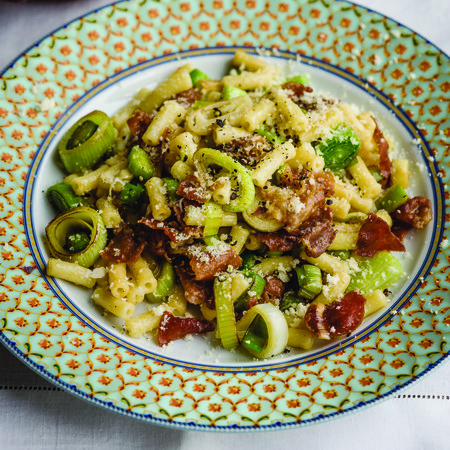 Leek and Prosciutto Macaroni with Green Beans in Shallot Vinaigrette