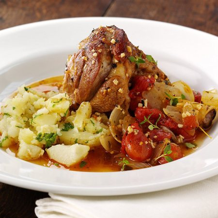 Slow Cooked Lamb Shanks with Garlic and Herbs