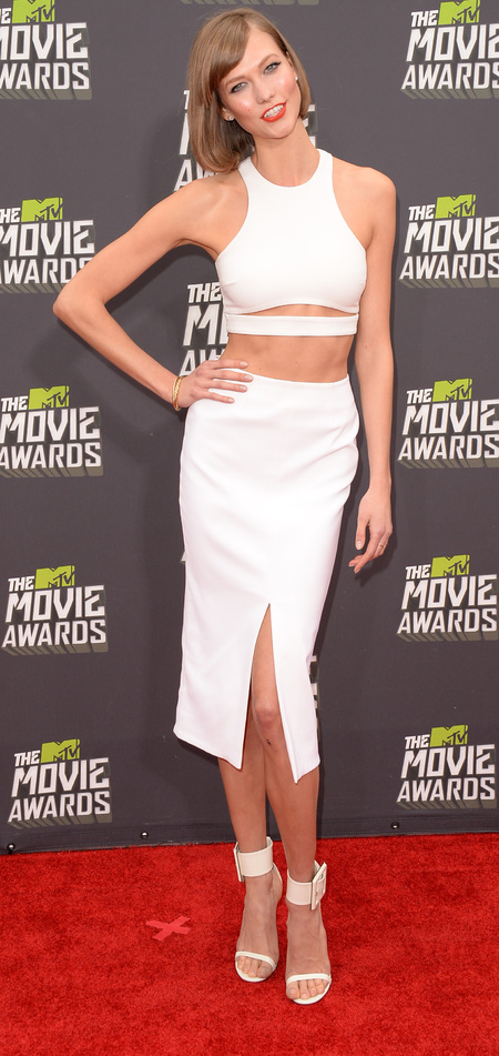 Karlie Kloss in crop top and skirt combo