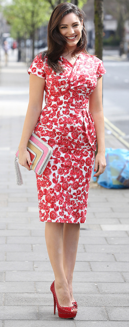 Kelly Brook in red floral dress on way to Celebrity Juice