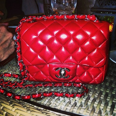 Rita Ora red Chanel handbag