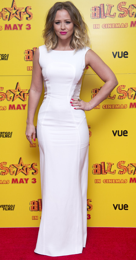 Kimberley Walsh in floor-length dress