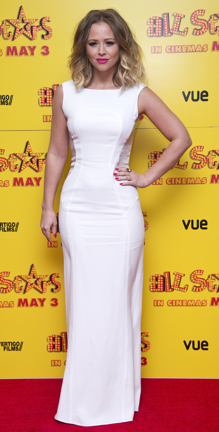 Kimberley Walsh wears white at All Stars London premiere