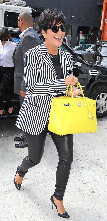 Kris Jenner and her bright yellow Birkin bag