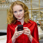 Lily Cole reveals the Blackberry Q10 smartphone