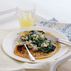 Mushroom and spinach pancakes