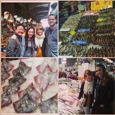 Jessica Alba visits fish market