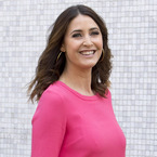 Lisa Snowdon pops in bright pink shift dress