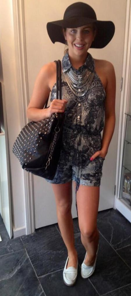 Lydia Bright with Bella Sorella playsuit and studded bag