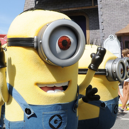 Characters of animated movie 'Despicable Me' poses during the Grand Opening of Despicable Me Minion Mayhem at Universal Orlando