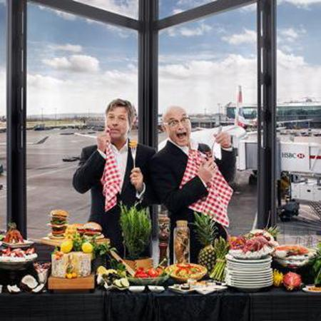 Gregg Wallace and John Torode at Heathrow Airport