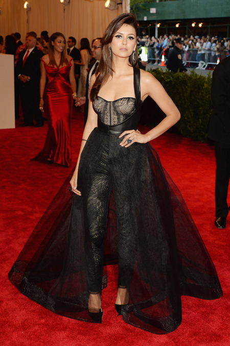 Nina Dobrev wears Monique Lhuillier dress to Met Ball 2013