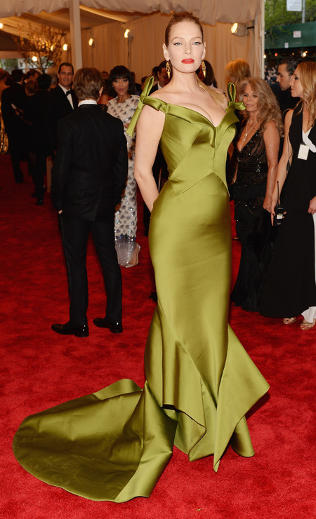 Uma Thurman wears Zac Posen dress to Met Ball 2013