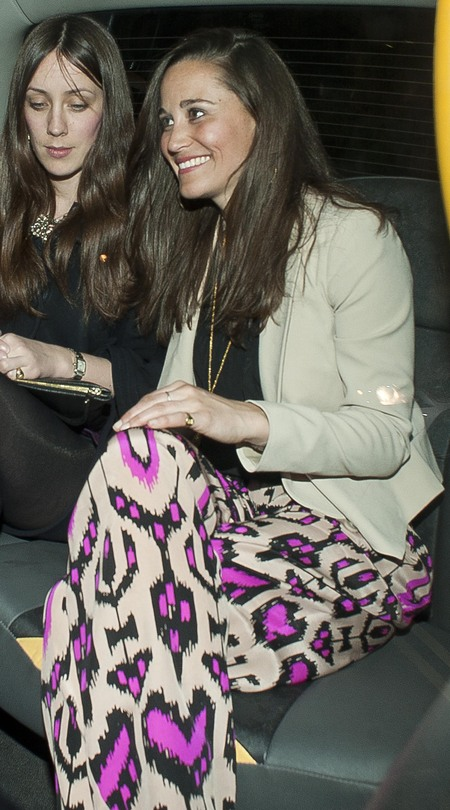 Pippa Middleton parties in Temperley print trousers