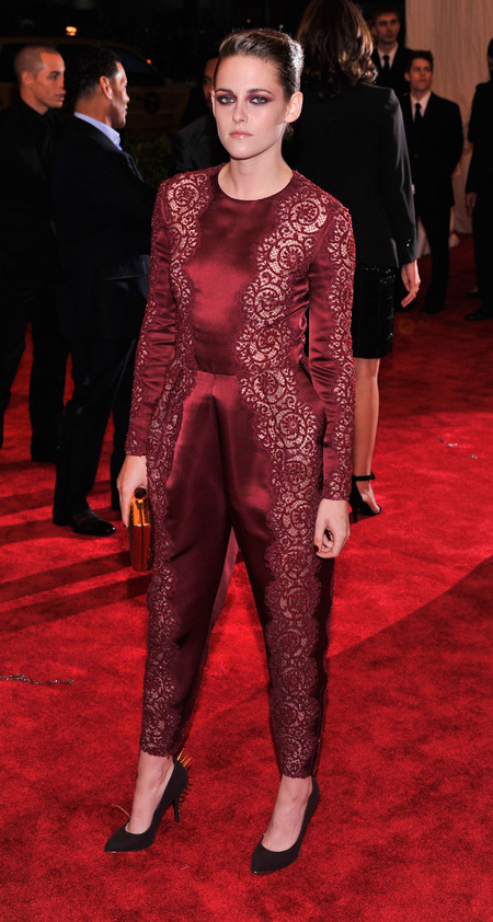 Kristen Stewart wears Stella McCartney jumpsuit to Met Ball 2013