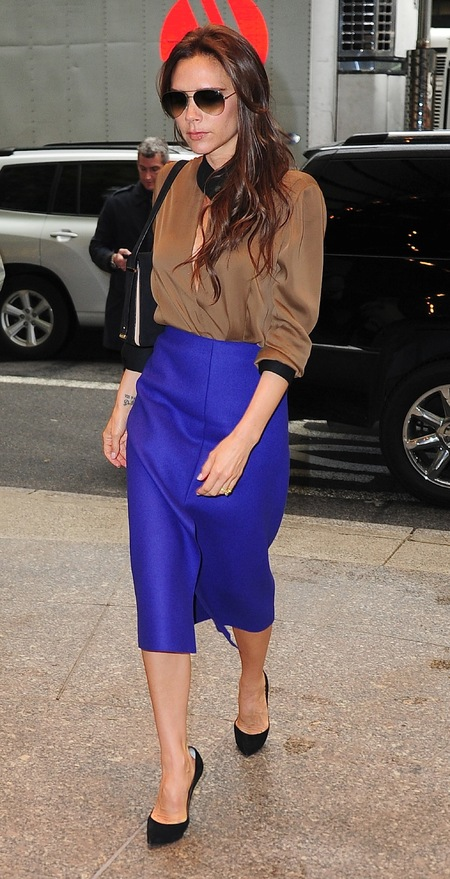 Victoria Beckham wears own designs in New York