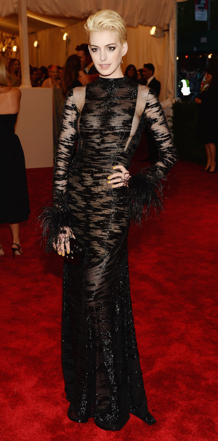 Anne Hathaway in Valentino at Met Ball 2013
