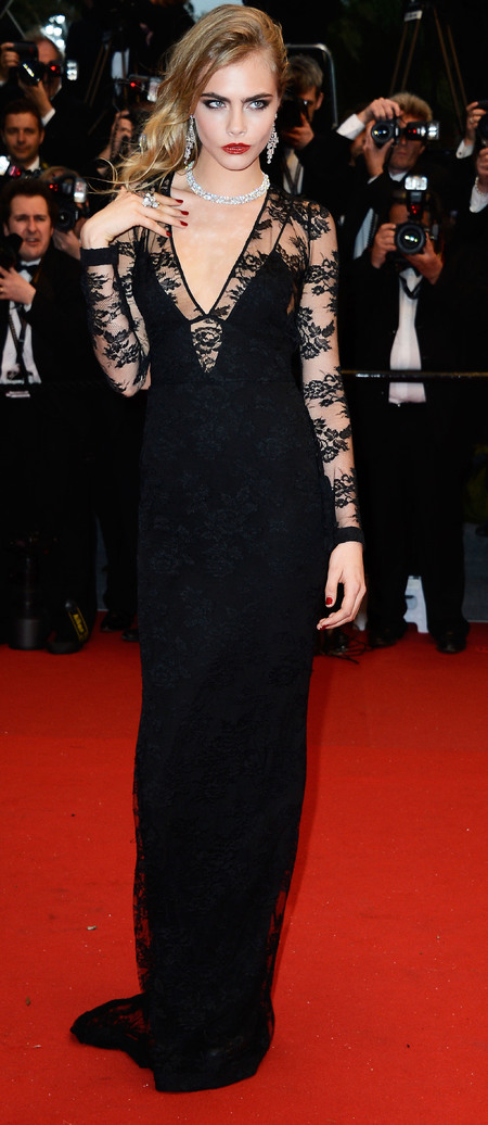CANNES: Cara Delevingne hits Great Gatsby red carpet in plunging Burberry dress