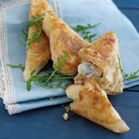 Blue cheese filo pastry triangles