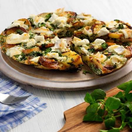 Watercress and goat's cheese frittata recipe