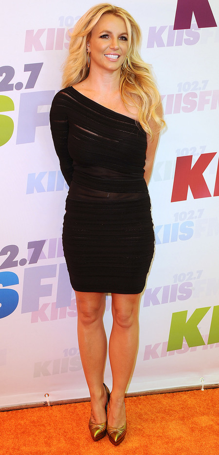 Britney Spears' one-shouldered black dress