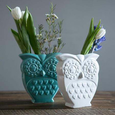 Owl design vases