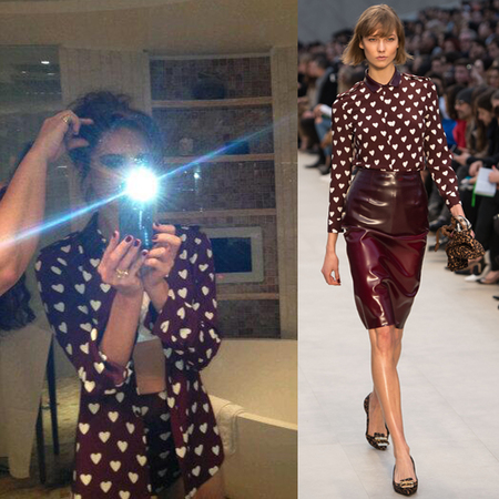 Victoria Beckham and Karlie Kloss in Burberry heart print shirt