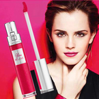 Emma Watson shows off new Lancome Lip Gloss