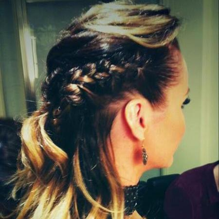 Amanda Holden's plaited half-up half-down hairstyle