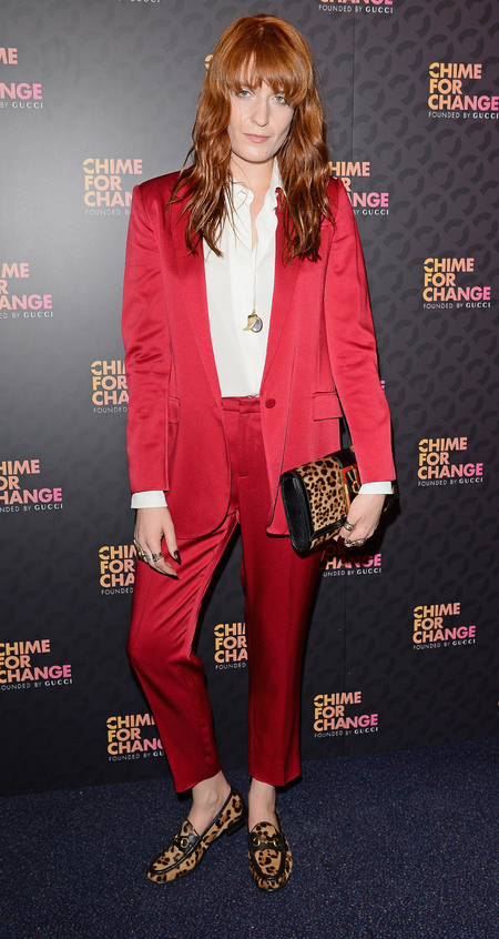 Florence Welch wearing Gucci at Chime for Change