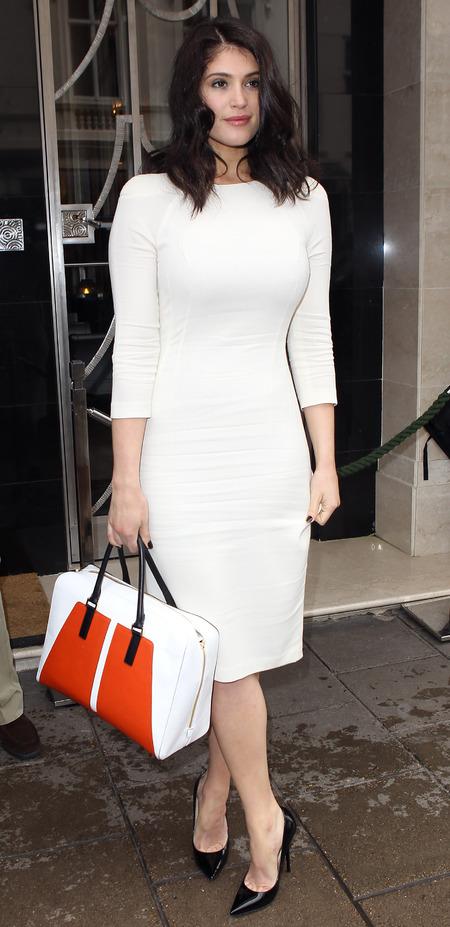 Gemma Arterton shows off figure in white bodycon