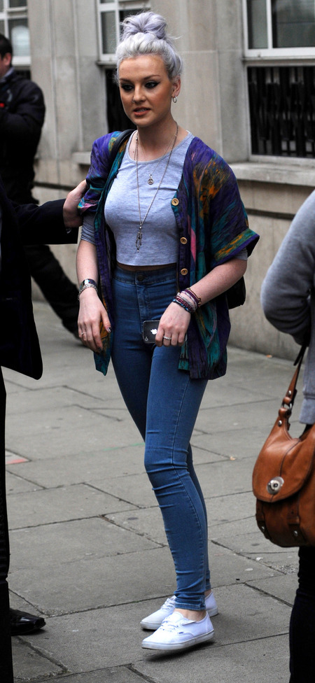 Little Mix Perrie Edwards wears Topshop jeans