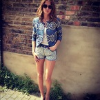 Millie Mackintosh models her Bambi and Manson denim shorts