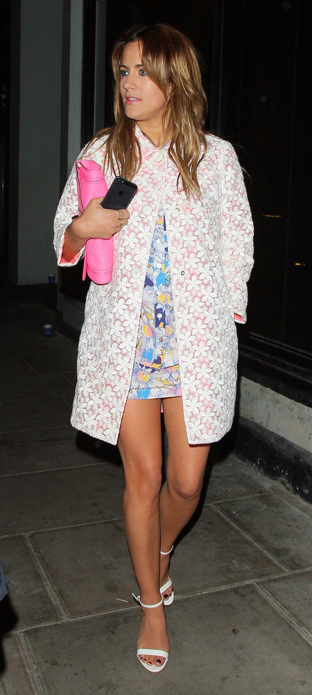 Caroline Flack wears pink Kate Spade New York coat in London
