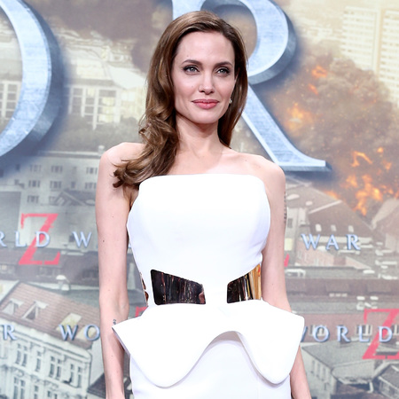 Angelina Jolie wears white at World War Z Berlin premiere