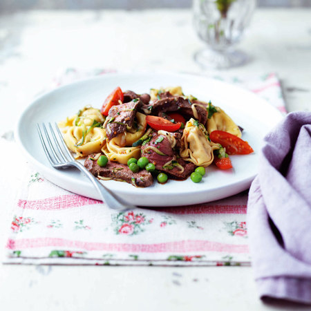 Spicy beef and pasta salad with chilli and coriander