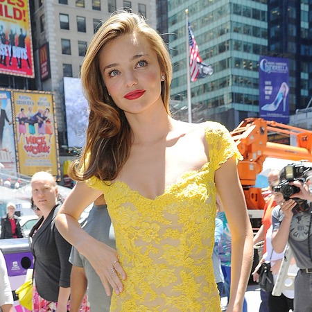 Miranda Kerr wears yellow lace dress in New York