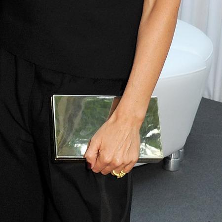 Victoria Beckham's silver clutch bag
