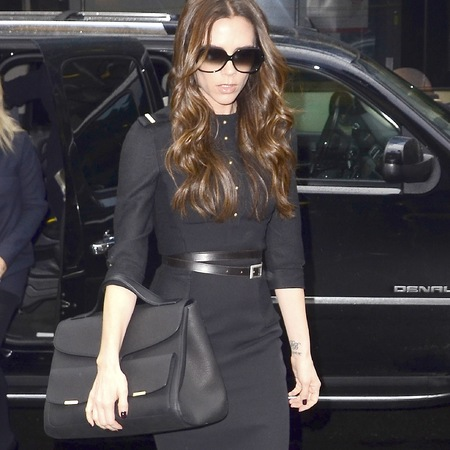 Victoria Beckham's black shoulder bag