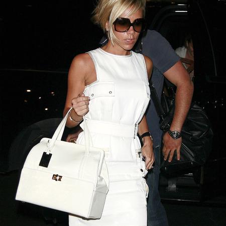 Victoria Beckham's white handbag