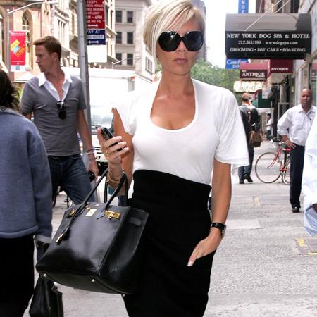 Victoria Beckham's black Hermes bag