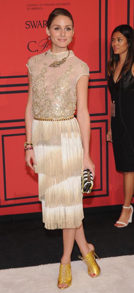 Olivia Palermo's gold fringed dress